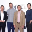 LONDON, ENGLAND - JULY 23:  SUN NEWSPAPER OUT. MANDATORY CREDIT PHOTO BY DAVE J. HOGAN GETTY IMAGES REQUIRED  Hugh Grant, Armie Hammer, Guy Ritchie and Henry Cavill attend 'The Man from U.N.C.L.E.' photocall at Claridge's Hotel on July 23, 2015 in London, England.  (Photo by Dave J Hogan/Getty Images)