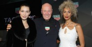 NEW YORK, NY - FEBRUARY 13: (L-R) Bella Hadid, CEO of TAG Heuer Jean-Claude Biver, and Leona Lewis pose during A Fresh New Face For TAG Heuer at Equinox Bond Street on February 13, 2017 in New York City.  (Photo by Bennett Raglin/Getty Images for TAG Heuer)
