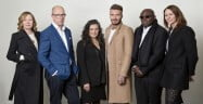 Sarah Mower MBE, Dylan Jones OBE, Sophia Neophitou, David Beckham OBE, Edward Enninful OBE, Caroline Rush CBE (Vic Lentaigne, British Fashion Council)