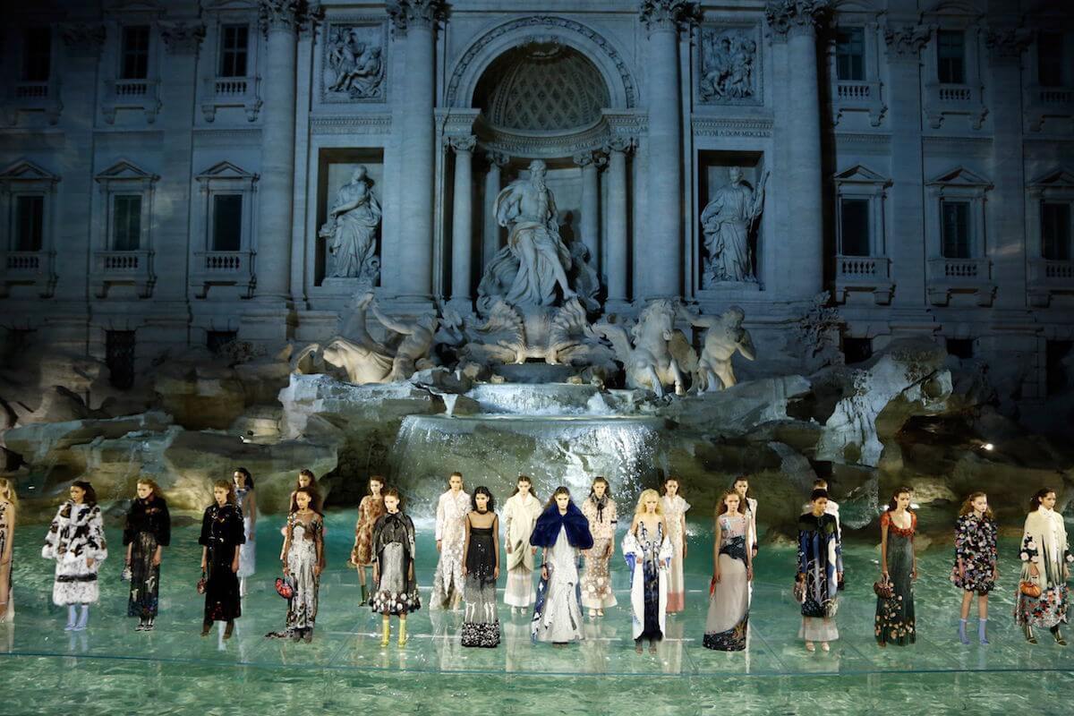 Fendi 90th anniversary show in Rome at Trevi Fountain